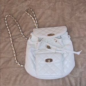White Leather Mini Backpack